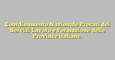 Coordinamento Nazionale Precari dei Servizi Lavoro e Formazione delle Province italiane.