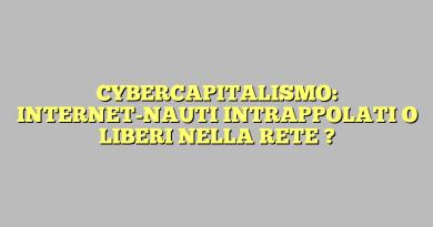 CYBERCAPITALISMO: INTERNET-NAUTI  INTRAPPOLATI O LIBERI NELLA RETE ?