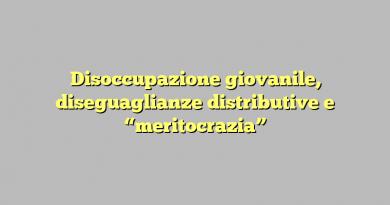 """Disoccupazione giovanile, diseguaglianze distributive e """"meritocrazia"""""""
