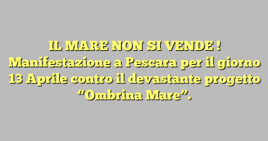 """IL MARE NON SI VENDE ! Manifestazione a Pescara per il giorno 13 Aprile contro il devastante progetto  """"Ombrina Mare""""."""