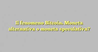 Il fenomeno Bitcoin. Moneta alternativa o moneta speculativa?