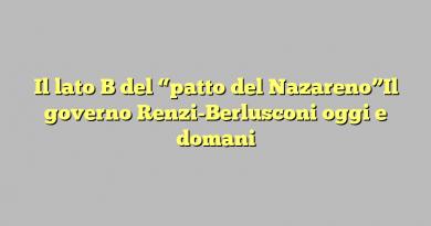 """Il lato B del """"patto del Nazareno""""Il governo Renzi-Berlusconi oggi e domani"""