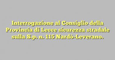 Interrogazione al Consiglio della Provincia di Lecce sicurezza stradale sulla S.p. n. 115 Nardò-Leverano.