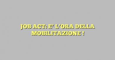 JOB ACT: E' L'ORA DELLA MOBILITAZIONE !