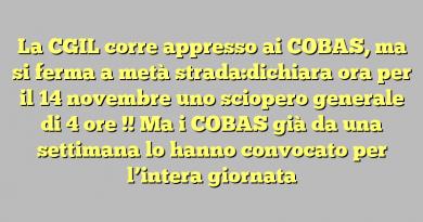La CGIL corre appresso ai COBAS, ma si ferma a metà strada:dichiara ora per il 14 novembre uno sciopero generale di 4 ore !!  Ma i COBAS già da una settimana lo hanno convocato per l'intera giornata