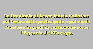 La Provincia di Lecce lancia l'allarme sul futuro delle partecipate e poi vuole rimettere in piedi in carrozzone come l'Agenzia dell'Energia.