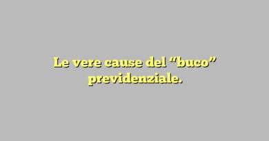 """Le vere cause del """"buco"""" previdenziale."""