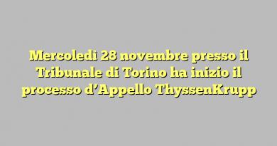 Mercoledì 28 novembre presso il Tribunale di Torino ha inizio il processo d'Appello ThyssenKrupp