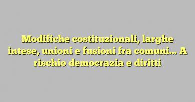 Modifiche costituzionali, larghe intese, unioni e fusioni fra comuni… A rischio democrazia e diritti