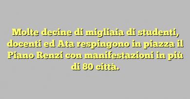 Molte decine di migliaia di studenti, docenti ed Ata respingono in piazza il Piano Renzi con manifestazioni in più di 80 città.