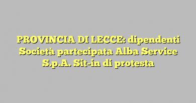 PROVINCIA DI LECCE: dipendenti Società partecipata Alba Service S.p.A. Sit-in di protesta