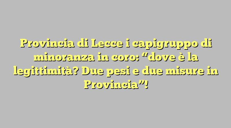 """Provincia di Lecce i capigruppo di minoranza in coro: """"dove è la legittimità? Due pesi e due misure in Provincia""""!"""