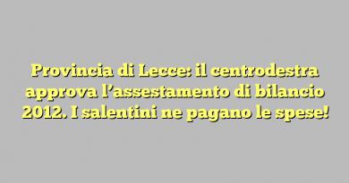 Provincia di Lecce: il centrodestra approva l'assestamento di bilancio 2012. I salentini ne pagano le spese!