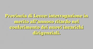 Provincia di Lecce: interrogazione in merito all'annoso ritardo nel conferimento dei nuovi incarichi dirigenziali.