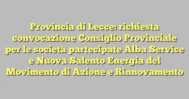 Provincia di Lecce: richiesta convocazione Consiglio Provinciale per le società partecipate Alba Service e Nuova Salento Energia del Movimento di Azione e Rinnovamento