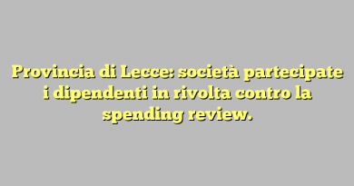Provincia di Lecce: società partecipate i dipendenti in rivolta contro la spending review.