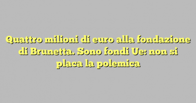 Quattro milioni di euro alla fondazione di Brunetta. Sono fondi Ue: non si placa la polemica