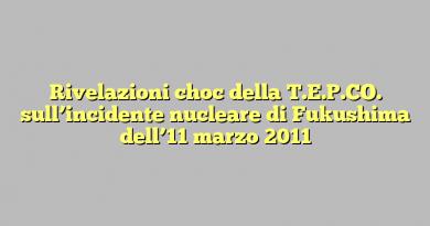 Rivelazioni choc della T.E.P.CO. sull'incidente nucleare di Fukushima dell'11 marzo 2011