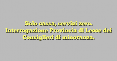 Solo cassa, servizi zero. Interrogazione Provincia di Lecce dei Consiglieri di minoranza.