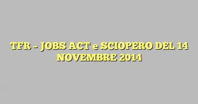 TFR – JOBS ACT e SCIOPERO DEL 14 NOVEMBRE 2014
