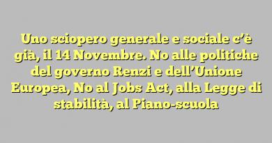 Uno sciopero generale e sociale c'è già, il 14 Novembre. No alle politiche del governo Renzi e dell'Unione Europea, No al Jobs Act, alla Legge di stabilità, al Piano-scuola