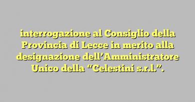 """interrogazione al Consiglio della Provincia di Lecce in merito alla designazione dell'Amministratore Unico della """"Celestini s.r.l.""""."""