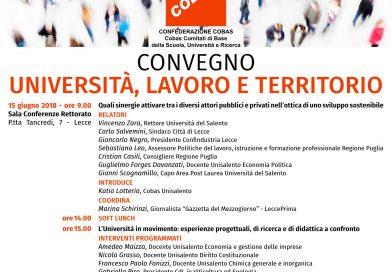 """Il 15 Giugno ore 9 si terrà presso la Sala Conferenze Rettorato di P.tta Tancredi un convegno dal titolo: """"Università, lavoro e territorio"""