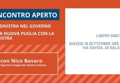 """Incontro a Galatone il 19 settembre: """"La sinistra nel governo. Una nuova Puglia con la sinistra""""."""