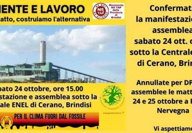 manifestazione e assemblea sotto la Centrale ENEL Federico II a Cerano, Brindisi. Sabato 24 ottobre 2020, ore 15.00